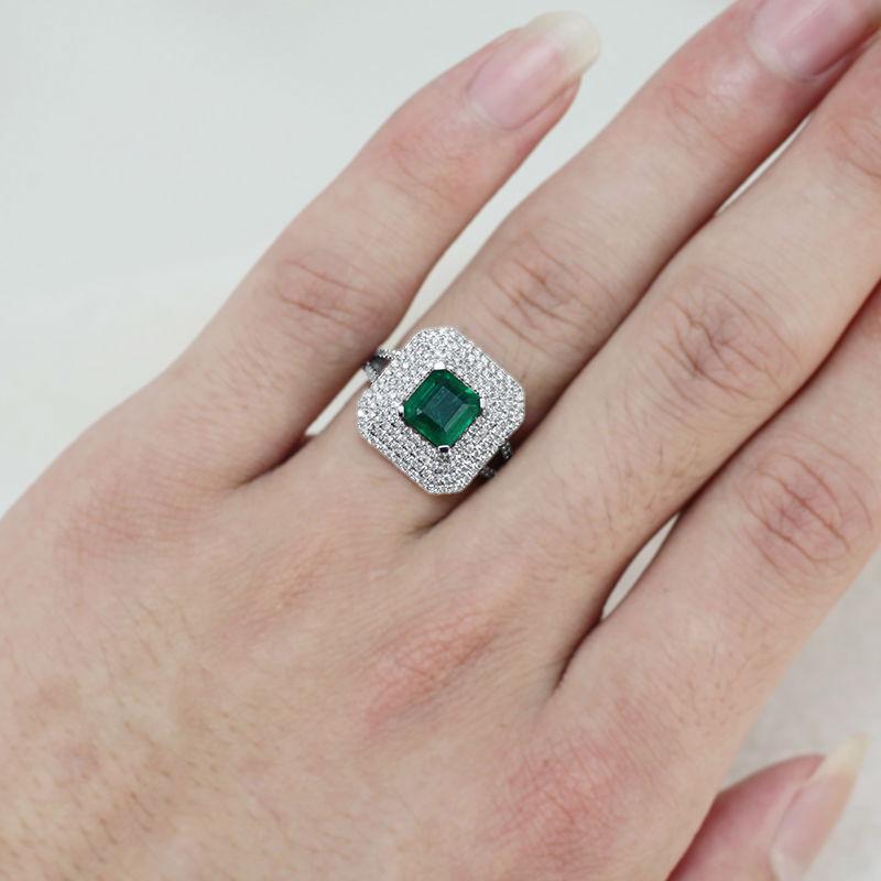 d71c5788105 NOUVELLE Mode Princesse Coupe Pierres Précieuses Bague Solide 18Kt Or Blanc  Diamant Naturel Émeraude Bague 6.5