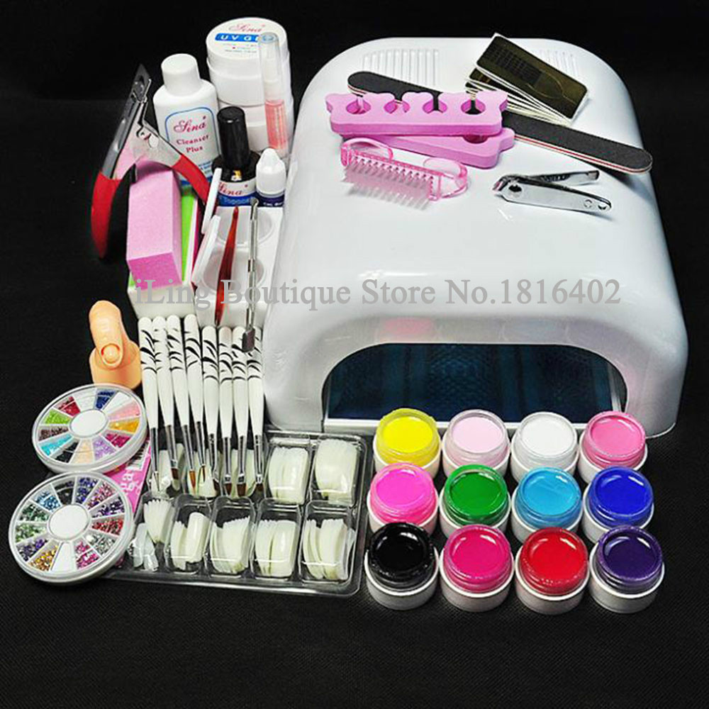 Nail Art Tool Kit: Professional Full Set UV Gel Kit Nail Art Set + 36W Nail