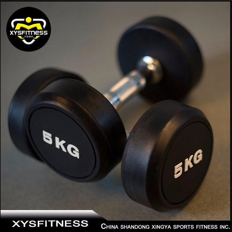 Wholesale Rubber Coated Round Head Dumbbell Set with Rack