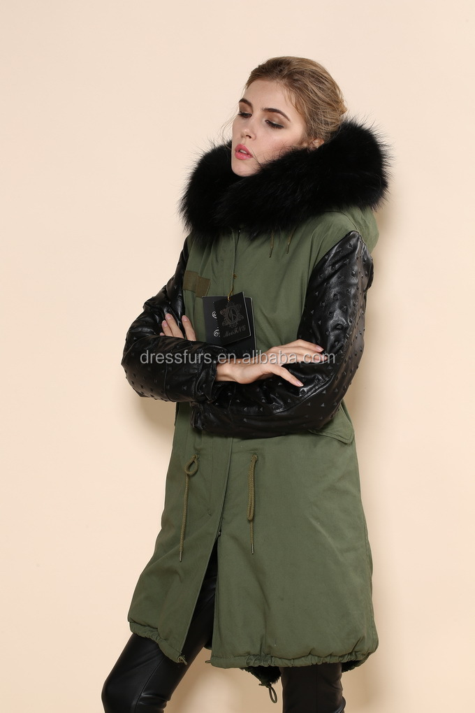 leather sleeve faux fur green parka coat with fox fur collar for