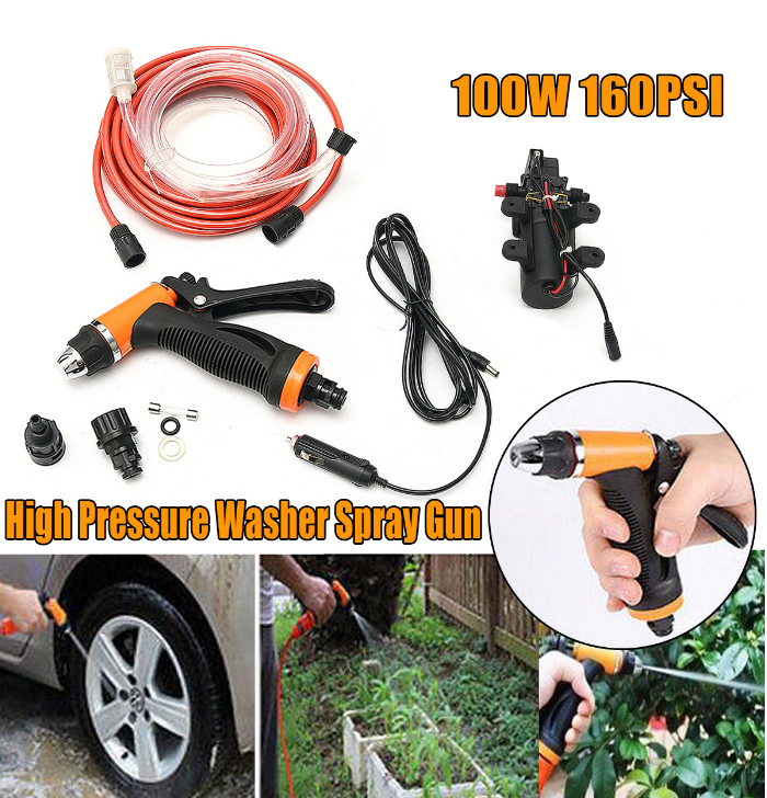 12v 80w Portable Car Washer With Water Spray Gun For Car Wash Price
