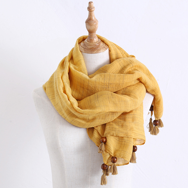 Autumn and winter new color silk beads hanging tassels scarf cotton linen air conditioning warm scarf