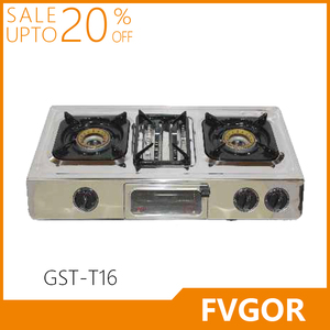 GST-T16 table top 3 Burner gas stove lpg gas cooker parts stainless steel gas hob