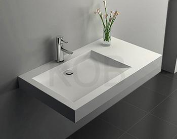 Ck2001 Shallow Solid Surface Wall Hung Basin Bathroom Vanity Sink