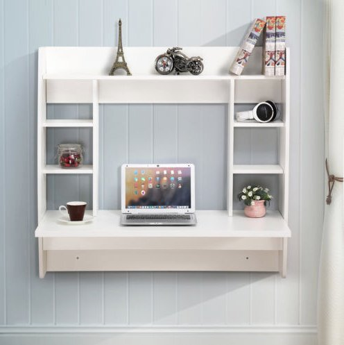 Wall Mount Floating Desk Computer Work Table Floating Wall Mounted with Storage (White) US stock