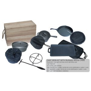 Cast Iron Kit With Rugged Wood Case