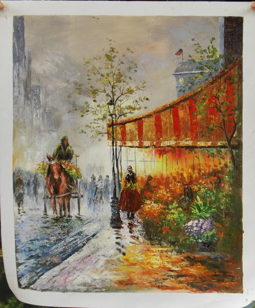 벽 예술 매달려 풍경 거실 홈 장식 파리 거리 예술 캔버스 유화 ...