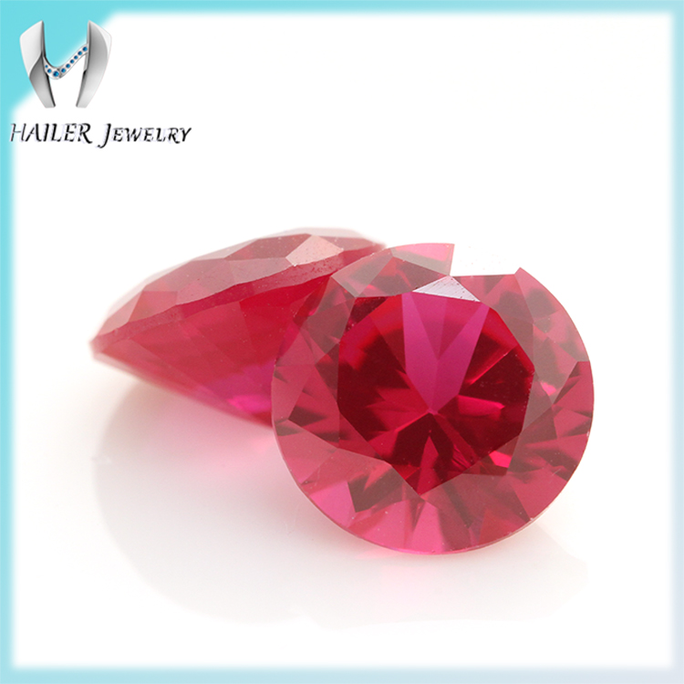Normal Round Diamond Cut Synthetic Ruby Stone