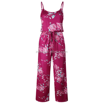 478f8ad1147f Unique long ladies jumpsuit suspender women floral jumpsuit one piece plus  size summer beach holiday trousers