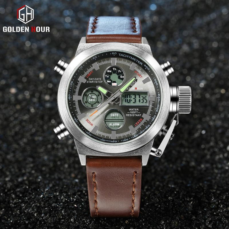 Golden hour new fashion watch men's Quartz Hour Clock Analog Digital LED Waterproof Sports Military Wrist Watch