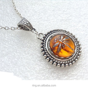 Outlander Dragonfly Amber Necklace Silver Dragonfly Pendant Czech Glass Amber Necklace