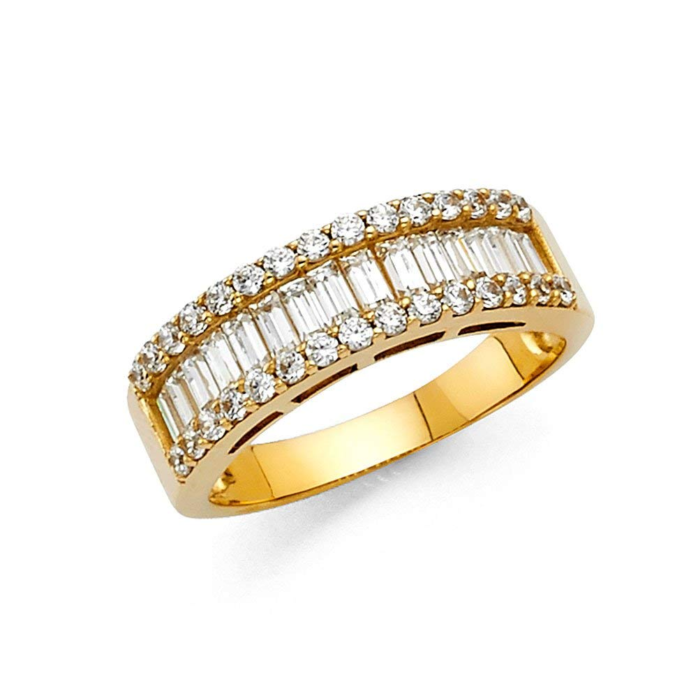 CZ Wide Wedding Band 14k Yellow OR White Gold Anniversary Baguette & Round CZ Ring Bridal CZ Band Solid