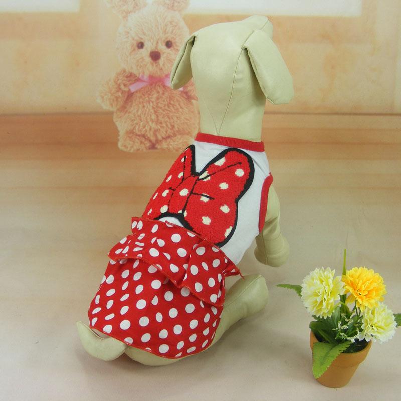 Оптовая продажа 4 шт./лот S/M/L/XL красный хлопка с точкой собак pet юбка, домашнее животное свадебное платье, щенок плюшевый poddle одежда для лета