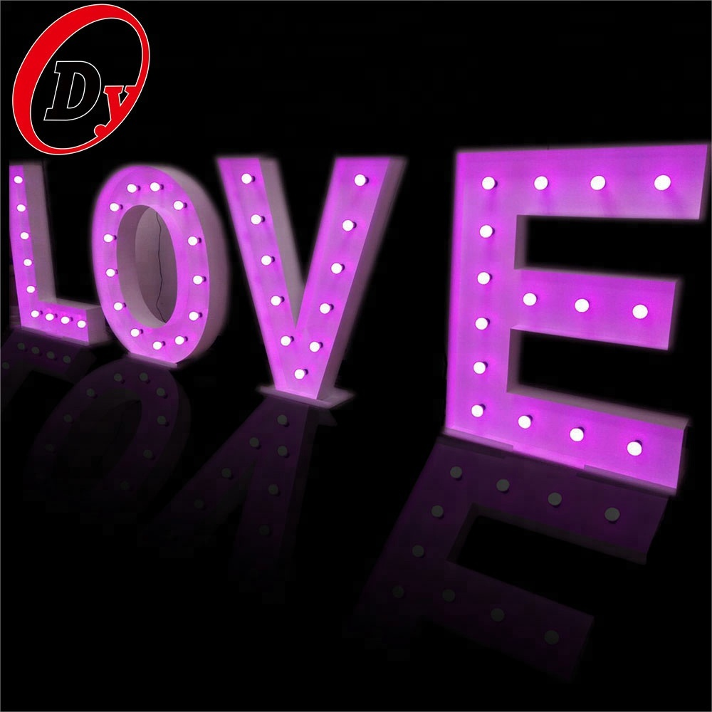 custom made wedding decorative love illuminated bulbs marquee led letter lights