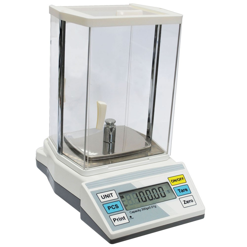 High precision balance for gold weighing with plastic wind shield