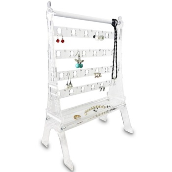Hot Sell Eiffel Tower Design Acrylic Jewelry & Earring Organizer Display Stand Set Rack Tray