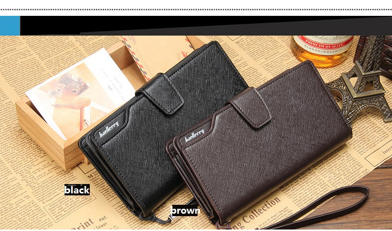 Great quality baellery brand Multifunction Long style Mens clutch leather wallet purse men's wallet designer
