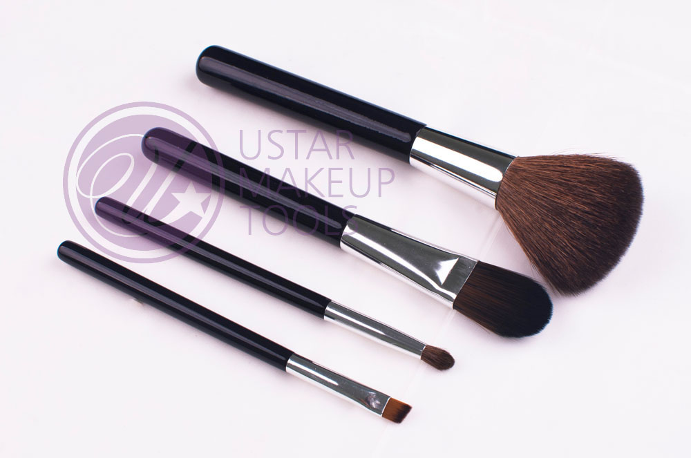 4pcs/set makeup brush set goat hair solid wood handle passed audit inspection makeup brush set