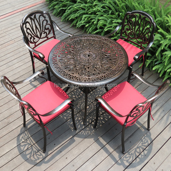 Heavy Duty All Weather Resistant Round Dining Table And Chairs Outdoor  Patio Garden Metal Cast