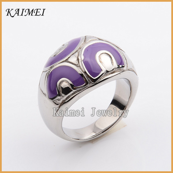 Newest Style Fashion Design Photo 316L Stainless Steel Mens Enamel Ring Jewelry