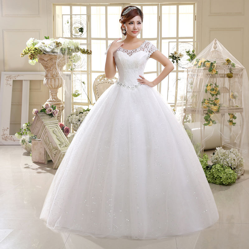 Cheap wholesale new style women white and red 2 color lace gown wedding dress