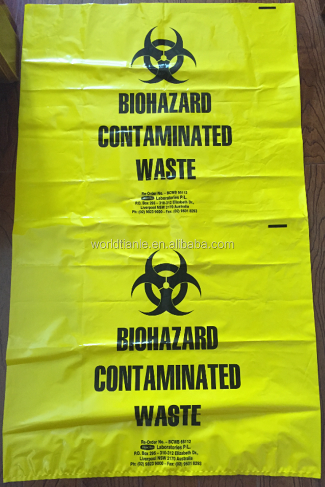 "39*43"",70Microns Thickness,High quality Biohazard Contaminated Waste bag for Lab & Hospital Use"