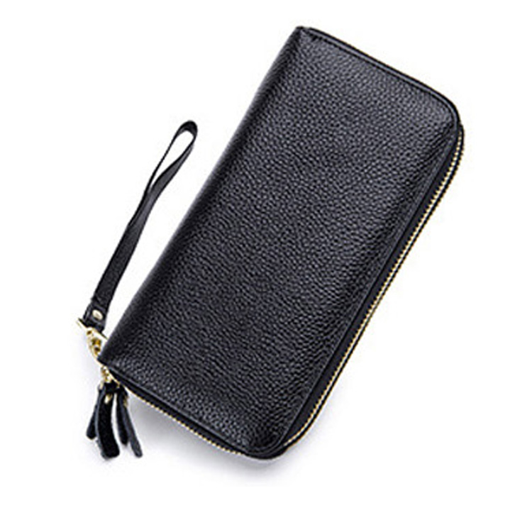 RFID Protect Leather <strong>Wallet</strong> Women Big Capacity Double Zipper Purse With Mobile Pocket