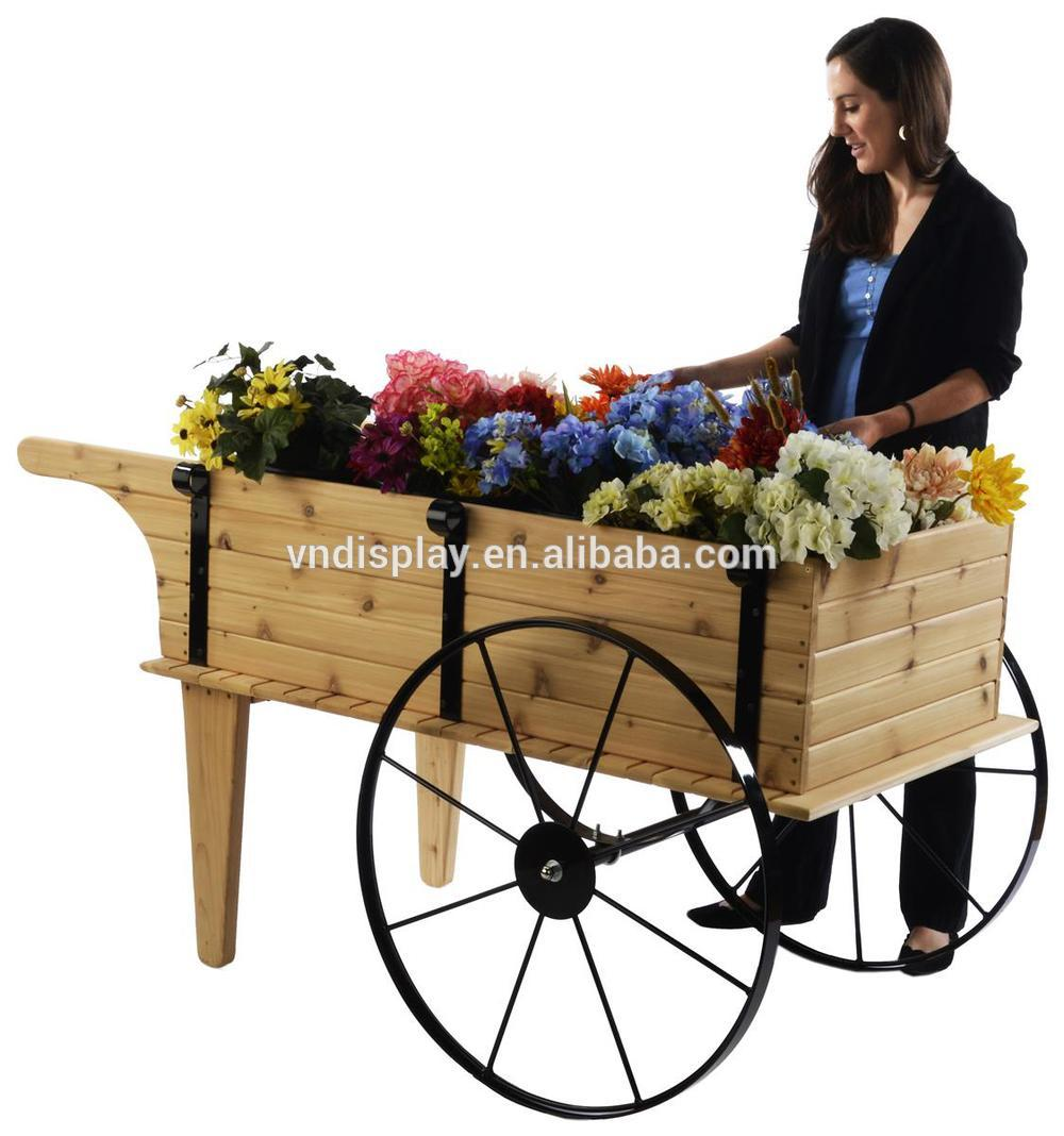 Jard n display flores planta carro de madera z calo for Carros de madera para jardin