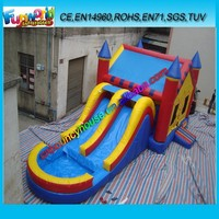 0.55mm PVC tarpaulin kids inflatable bounce house/ inflatable jumping castle with water slide for sale
