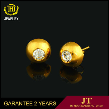 Tiny 18k Gold Ball Pin Stud Earrings For Women