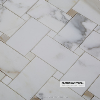 Basketweave Calacatta Marble Mosaic Floor And Wall Tile For Kitchen ...