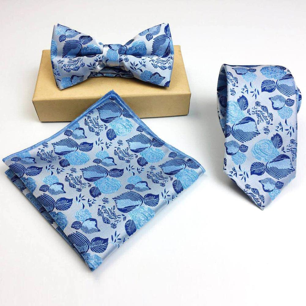 high quality floral necktie set with bow <strong>tie</strong> and pocket square for party