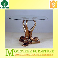 Moontree MDT-1129 antique round glass hand carved base dining table