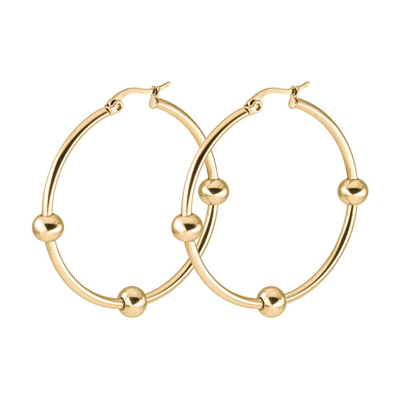 KnSam Women's Men's Hoop Earrings Stainless Steel 1 Pair Gold 50MM with Small Ball