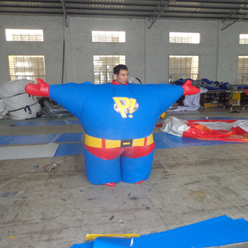 Customized inflatable Super Man walking cartoon inflatable costume for sale