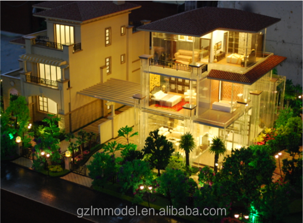 Residential apartment model projects / Scale buildings with lighting