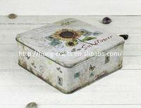 Vintage small nice metal tins moon cake box for mooncake packaging
