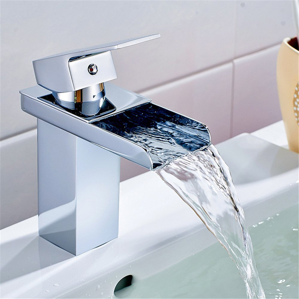 FHLYCF Basin faucet, full copper, modern electroplating, silver waterfall, faucet, bathroom, single, single hole, hot and cold water tank faucet