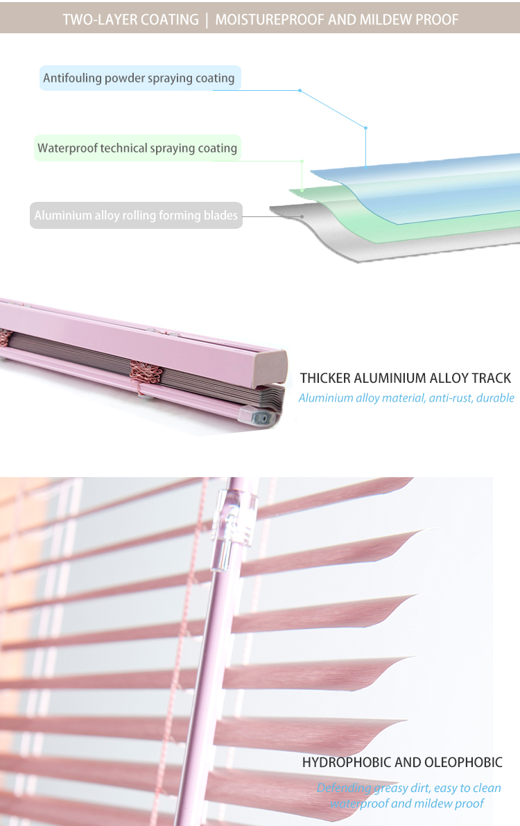 Factory price window shade pink manual aluminium slat venetian blinds