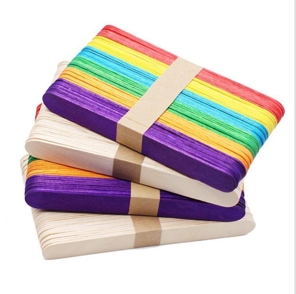 HomeABC Multi-Coloured Wooden Jumbo Craft Sticks Popsicles Stick, 400 Pcs