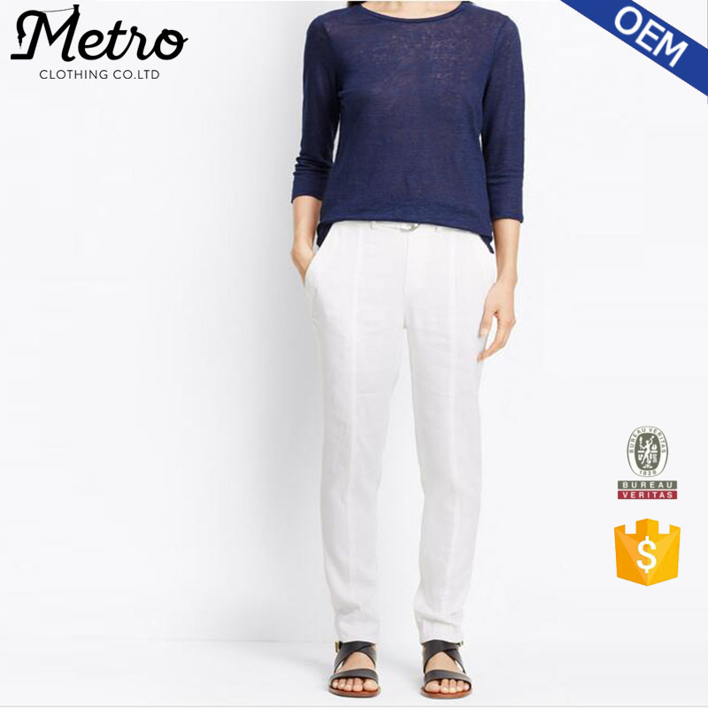 Lady Wholesale Belted Waist Linen Trouser White