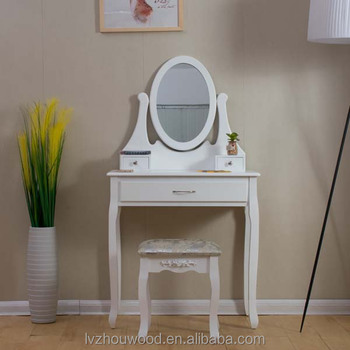 White Dressing Table Stool Mirror Set Bedroom French Style Furniture