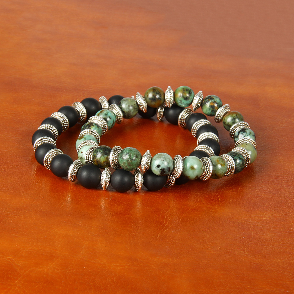 Wholesale New Fashion 8mm Natural African Turquoise Stone and Matte Agate Beaded Bracelets