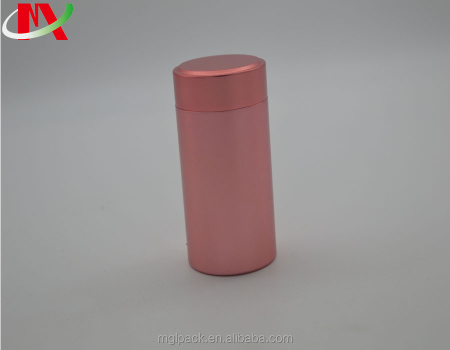 Pink printing screw lid metal perfume tin tinplate tea can package cylindrical shape aluminum cigarette tins