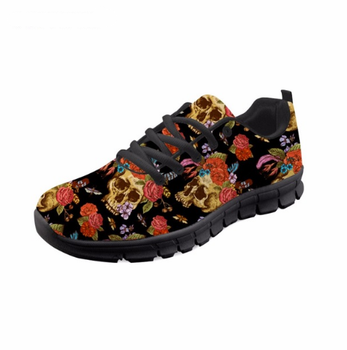 Breathable Flats 3D Sugar Skull Flower Pattern Plus Size Casual Lace Up  Sneakers Tenis Feminino Youth 7d6930a626235