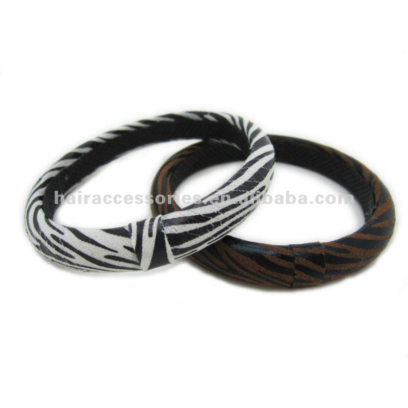 zebra printing fabric wrapped plastic bangle