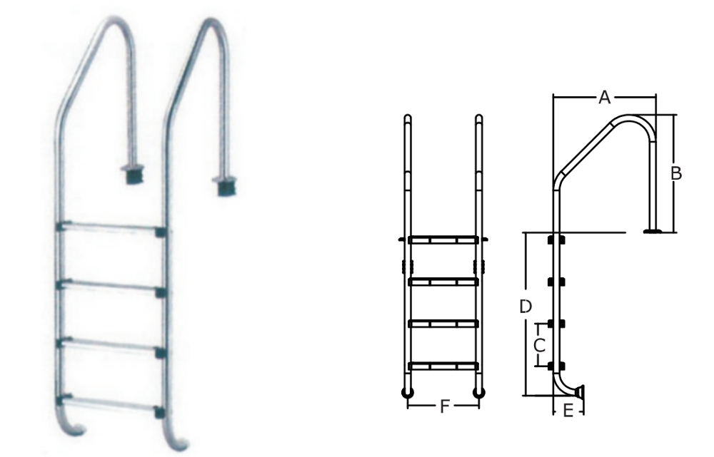 Manufacturer Wholesale Anti-slip AISI 304 or 316 Stainless Steel Material 3 Steps Ladder for Swimming Pool