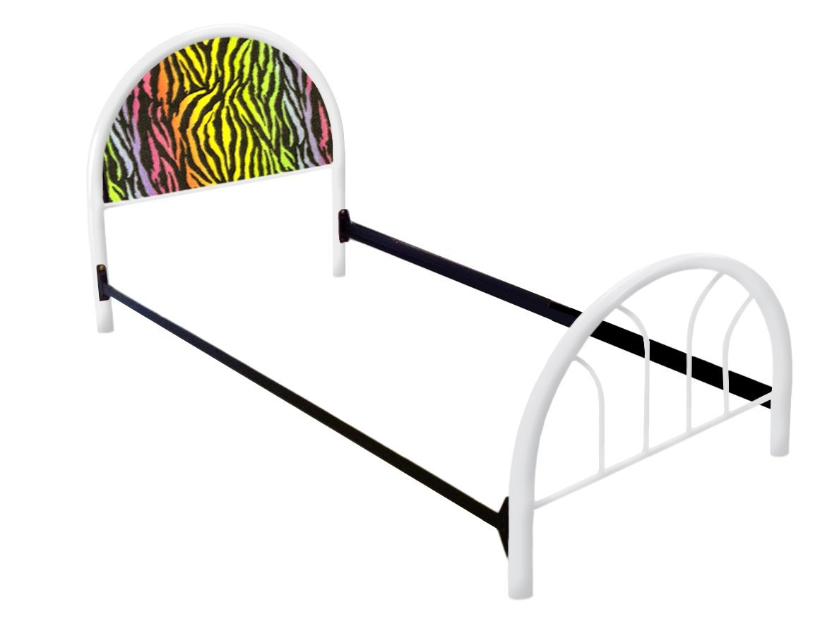 The Furniture Cove New Twin Size Custom Rainbow Zebra Print Themed Bed Set! Includes Head Board, Foot Board and Mattress Rails!