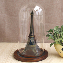 D15xH26cm decorative glass dome with pine base