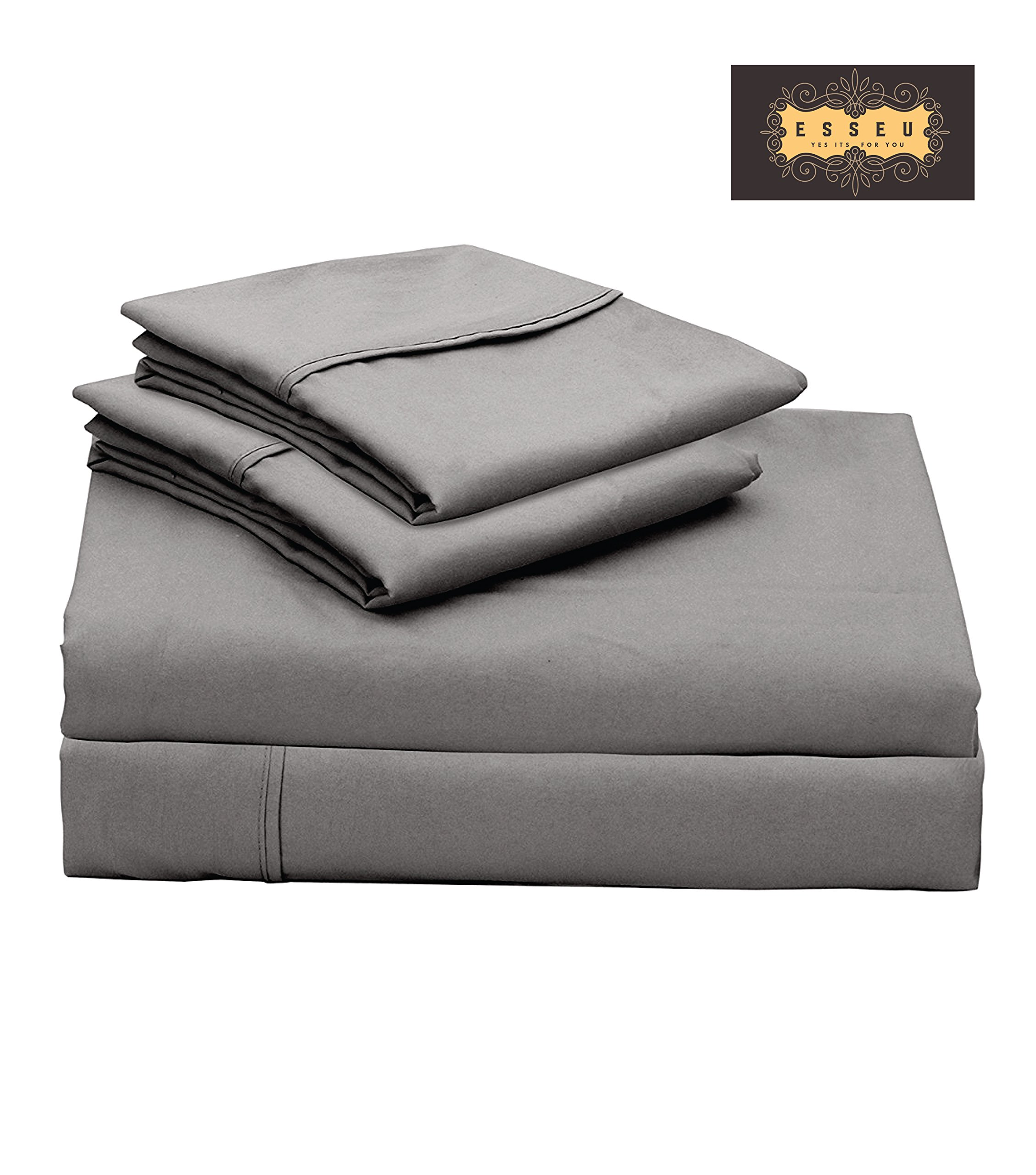 300 Thread Count 100% Cotton Sheet Set, Soft Sateen Weave,Queen Sheets, Deep Pockets,Home & Hotel Collection,Luxury Bedding-Bestseller- Super Sale 100% Cotton, Elephant Grey by ESSEU